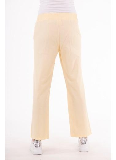 Stamina  Bayan Beli Lastikli Cepli Pantolon-5PN04 Sarı